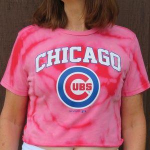 Chicago Cubs Custom Spiral Bleach Crop Top sz S